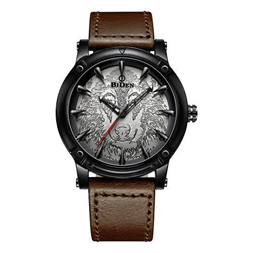 Herren Armbanduhr, schwarz schlicht Uhren, lässig, analog, Quarz, braunes Lederband mit Uhren