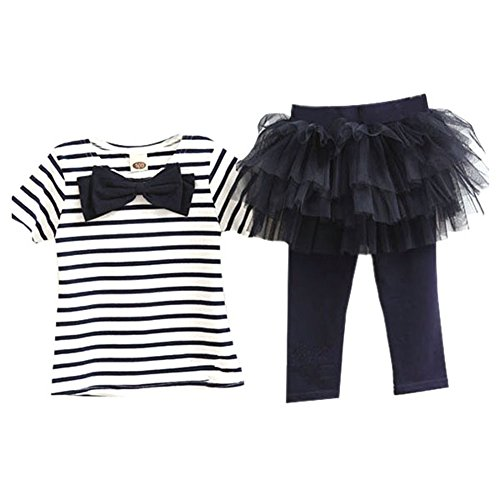 Silvercell Baby Kind Mädchen Kleidung T-shirt Tops Tüll Tutu Culottes 2ST Outfit Stripesets (s) (Cotton Culotte)