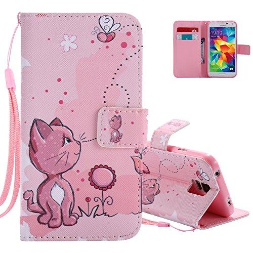 Aeeque Portafoglio Rosa Cover per Samsung Galaxy S5 Animali Carina Gatto Modello a Libro Flip Custodia in PU Pelle e Silicone Morbido con Supporto e Slot Schede per Samsung S5/S5 Neo - Modello #15