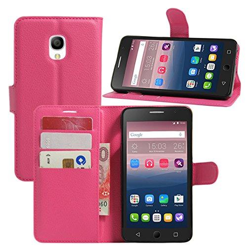 Alcatel Pop 4caso, hualubro [Kickstand] [tutto intorno protezione] Premium a portafoglio in pelle PU per Custodia Protettiva con Card Slot per Alcatel One Touch Pop 45.0Inch Smartphone, Pelle, Rose, For Alcatel OneTouch Pop Star