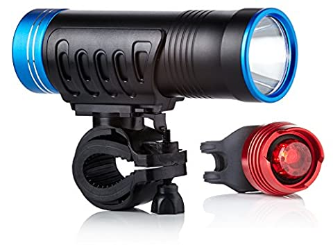 Bike Lights LED by Camden Gear VIVID XVI Light. 200 Lumens Bright, Easy to Fit LED Bicycle Lights. Front and Back