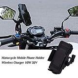 Soporte para teléfono móvil con cargador inalámbrico para motocicletas de 32 V,...