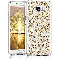 kwmobile Étui transparent en TPU silicone pour Samsung Galaxy A5 (2016) en doré transparent Design flocons