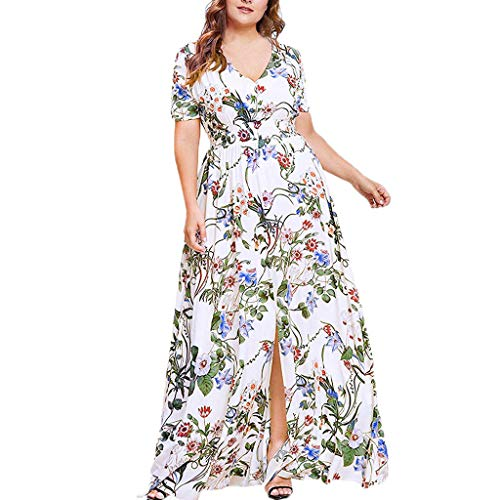 Wawer Damen Boho Sommerkleider große Größe V-Ausschnitt Strand Blumen Kleider Lange Strandkleid Maxikleid Bohemien A-Linie Partykleid