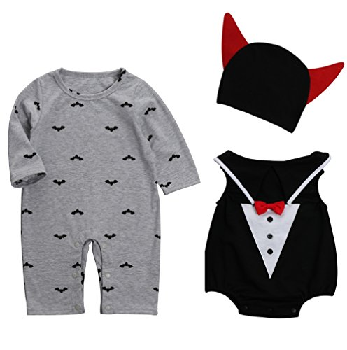 Vampir Neugeborenen Kostüme (Le SSara Baby devil & Vampire Halloween Bodys newborn Body Kostüm Outfits 3pcs (80,)