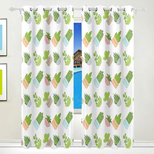 WENYAO Cactus Topfpflanzen Verdunkelungsvorhänge Verdunkelungsvorhang aus wärmeisoliertem Polyester mit obenliegender Tülle für Schlafzimmer, Wohnzimmer, 2 Paneele, 55 W x 84 L Zoll - 80 X 84 Panel