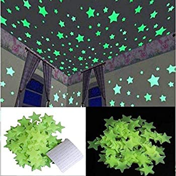 Edge Decor Plastic Luminous Fluorescent Green Glowing Night Sky Wall Sticker Radium Glow Stars Starry Sky (4 cm x 4 cm x 1 cm,Green, Set of 60)
