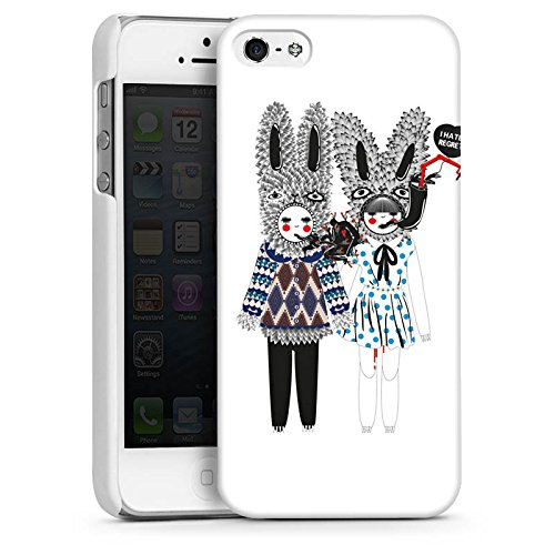 Apple iPhone 5s Housse Étui Protection Coque Lapins Rêve Imagination CasDur blanc