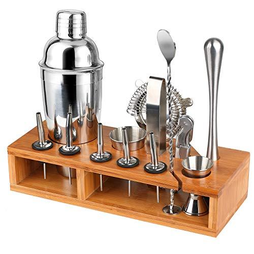 Wooden-Life Hochwertiges Cocktailshaker Set,14 Teilig, mit Bambus-Aufbewahrung, inkl. Cocktail-Shaker, Doppeljigger, Messbecher, Bar Stößel, Bar Löffel, Ausgießer, Eiszange, Öffner, Hawthowe Strainer