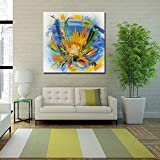 XIAOXINYUAN 100% Handgemalt Öl Malerei Abstrakte Gelbe Blume Art Wall Bild Für Wohnzimmer Sofa Home Decor 70 × 70 cm