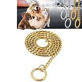 Haustier Halsbänder Pet Neck Strap Hund Halsband Schlange Kette Hund Kette Solid Metall Kette Hundehalsband, Länge: 55cm XACQuanyao (Farbe : Gold)