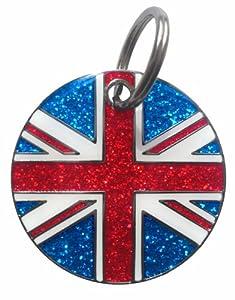 K9 Union Jack Glitter Identity Tag by Igloo Designs