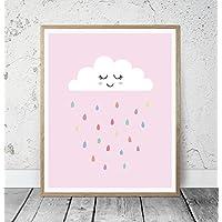 Kinderposter Kinderzimmerbild Wolke mit Regentropfen Rosa - für Mädchen, Baby, Kind - Geschenkidee zur Geburt, Taufe, Geburtstag; Poster Kinderzimmer Wandbild, skandinavischer Stil - ungerahmt