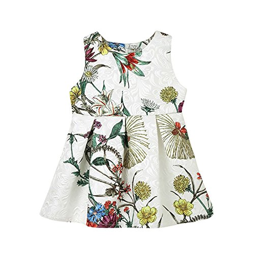 JUTOO Kinder Säuglingskind Mädchen Floral Sleveeless Princess Mini Dress Clothes Outfit ()