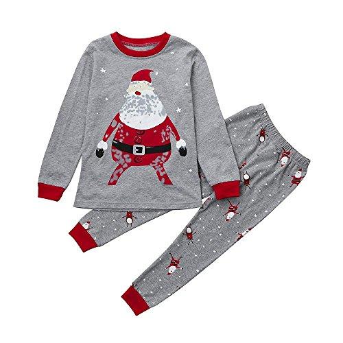 Und Winter Jungen Und Mädchen Kinder Tops + Pants Weihnachten Startseite Outfits Pyjama Set Weihnachtsheimservice (Grau, 7) (Mollige Mädchen Halloween-kostüm Ideen)