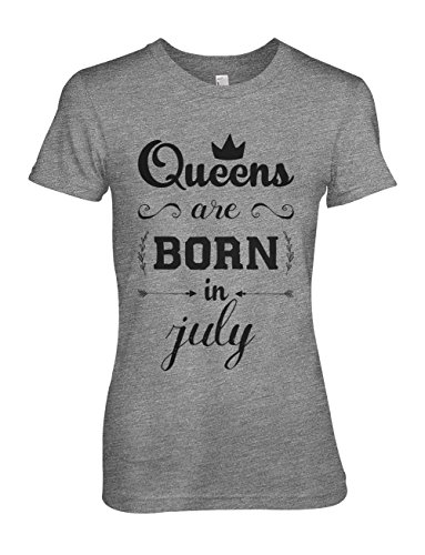 Queens Are Born In July Birthday Gift Present Damen T-Shirt Grau