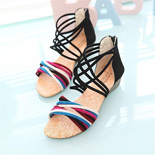 Lalang Femmes Bohème Sandales Sandales de plage Plates Chaussures Noir