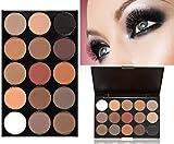 LyDia® 15 COLOURS EYESHADOW PALETTE Matte Smokey Eye Effect Neutral Nude/White Highlight/Brown/Black/Chocolate #2