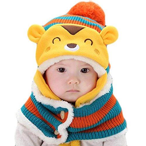 caps sciarpa cappuccio Coif, carino invernali ragazze bambino neonate cappelli di lana caldi (arancia)