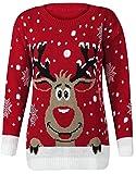 Fast Fashion Frauen Pullover Langarm Stern Twin Rudolph Neuheit Weihnachts(Red, M/L)
