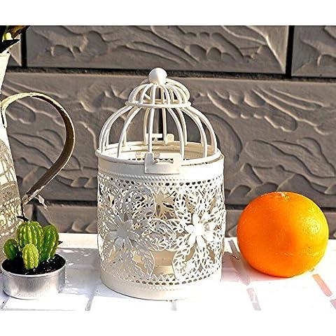 asentechuk® Romántico Vintage Metal hueca jaula de pájaros–Candelabro de boda Navidad decoración para el hogar, hierro, blanco leche, B