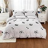 Bettbezug Set, DOTBUY 100% Super Weiche und Angenehme Mikrofaser Einfache Bettwäsche Set Gemütlich enthalten Bettbezug Bettlaken Kopfkissenbezüge (1 Bettbezug + 2 Kissenbezüge) (135x200cm, Weißer Panda)