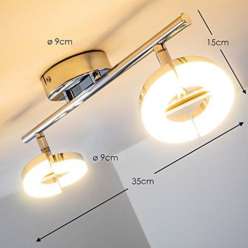 Plafoniera-LED-Faretti-Design-con-Anelli-2x6-watt-Metallo-Cromato