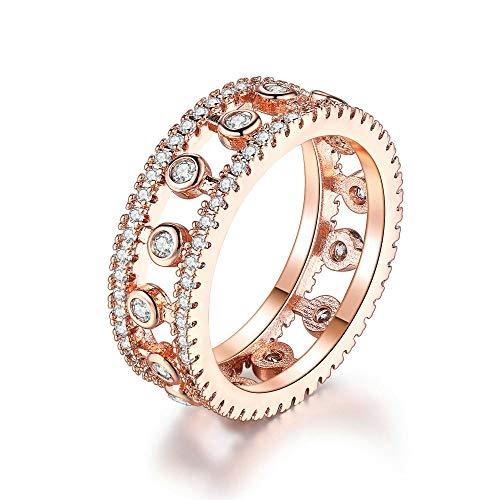 ZhongYi Modischer Mikro-Intarsien-Zirkon-Roségold voller Diamant-Verlobungsring