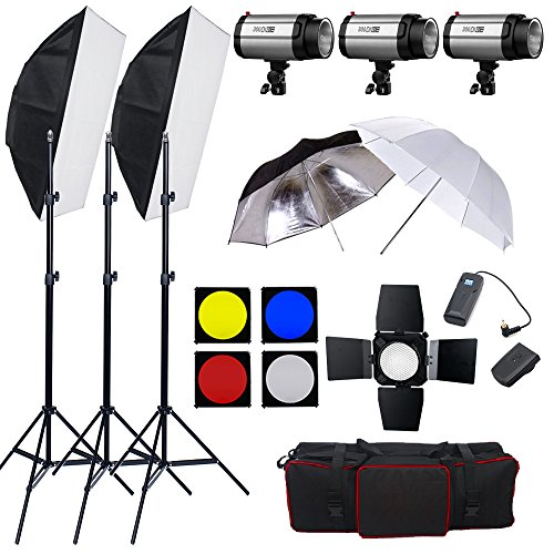 Portable Studio 900W(3 x 300W) Flash Lighting Photography Softbox Set,Soft Umbrella,Reflective Umbrella,Barndoor,16 Channel Flash Trigger Photo Studio kit with Carry Bag