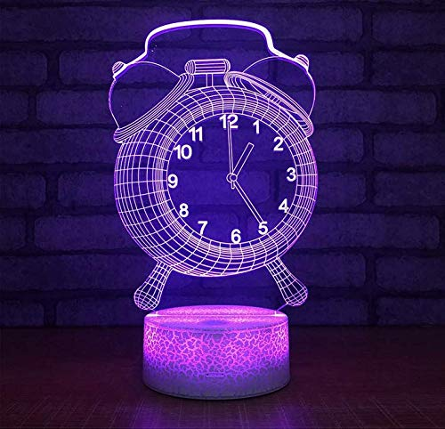 Chandelierwhite Crackle Base Alarm Clock 3D Lamp 7 Colors Burst Led Night Lamp For Kids Touch Led Usb Table Baby Sleeping Decor Led Lights - Alarm Base