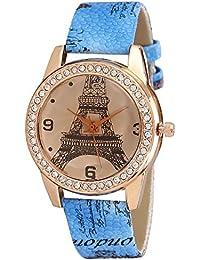 Zillion Eiffel Tower Print Dial Diamond Studded Bezel Sky Blue Printed Strap Analog Watch For Women, Girls