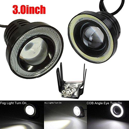 LCLrute Hohe Qualität 3,0 Zoll Auto Nebelscheinwerfer COB LED Projektor Halo Ring DRL Glühbirnen (Weiß) (Halo-lichter Für Autos)