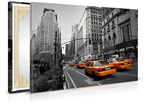 XXL-Tapeten Leinwandbild Manhattan Taxi - Fertig Aufgespannt - Gemälde, Kunstdruck, Wandbild, Keilrahmen, Bild auf Leinwand von Trendwände - Format: 90x60cm, Standard: Polyester-Leinwand 2cm Rahmen -