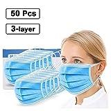 Hxf254362 50 - Paradenti Antipolvere Diaposable per Viso, in Tessuto Non Tessuto, 3 Strati, Colore: Blu