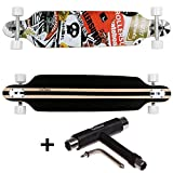 FunTomia® Longboard Skateboard Drop Through Cruiser Komplettboard mit Mach1® ABEC-11 High Speed Kugellager T-Tool (Modell Freerider - Farbe Rot Satellite + T-Tool)