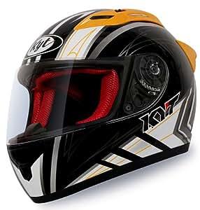 KYT RC7 Provent Full Face Helmet (Black and Orange, L)
