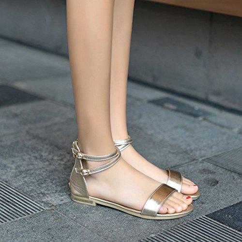 COOLCEPT Femme Mode Sangle de Cheville Sandales Bout Ouvert Plat Chaussures Avec Fermeture Eclair Or
