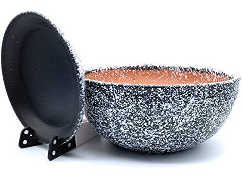 Sun Cakes Pot de Fleurs en céramique Verni avec Soucoupe Ronde en Terre Cuite avec Plateau Goutte à Goutte Pot de Fleurs Argile Chitola, Noir/Blanc, 20cm x 9cm