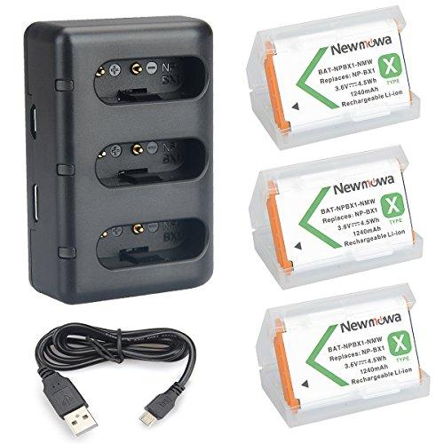 NP BX1 Newmowa Batería Repuesto 3 Pack Kit Cargador