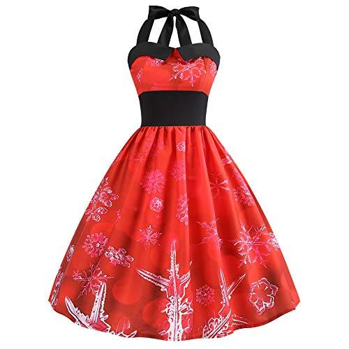 (Weihnachtskleid Damen Elegant Kleider Vintage Weihnachten Gedruckt Ballkleid Neckholder Ärmellose Abendkleid Lang Swing-Kleid Rockabilly Cocktailkleid Weihnachten Partykleid)
