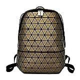 JL Geometrische Rhombische Schultertasche PU Magische Farbe Rucksack Männer und Frauen Mode Weichen Gesicht Handtasche Freizeit Reisen Rucksack,Bronze