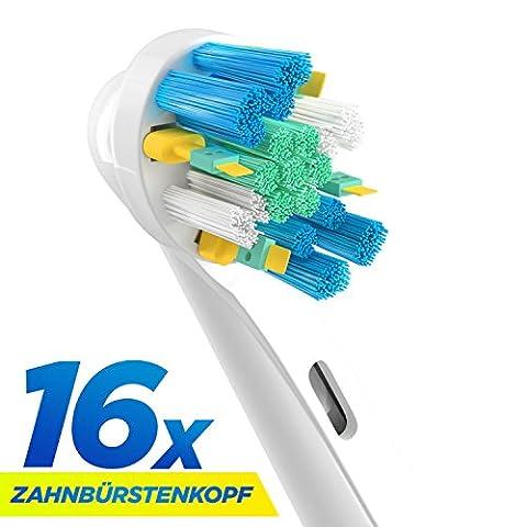 16 Stk. (4x4) Floss Action Ersatzbürsten kompatibel mit Oral-B elektrischen Zahnbürsten. Ersatz für EB25 Oral-B Tiefenreinigung Aufsteckbürsten. Voll kompatibel mit Oral-B Vitality, Professional Care und anderen elektrischen Zahnbürsten. Ersatzbürsten von ORAX®