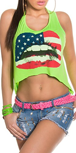 Débardeur pour femme, avec shirt ventre nu printaufdruck en taille 34 à 40) Vert - Vert fluo