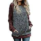 serliy Frauen beiläufiges täglich Casual Stitching Pocket Langarm Flowy Tunika Shirt Party Baggy Cropped Trousers Outwear Karikatur Kapuzenmantel Kleidung langärmlig Knopfleiste schöne Langarmshirts