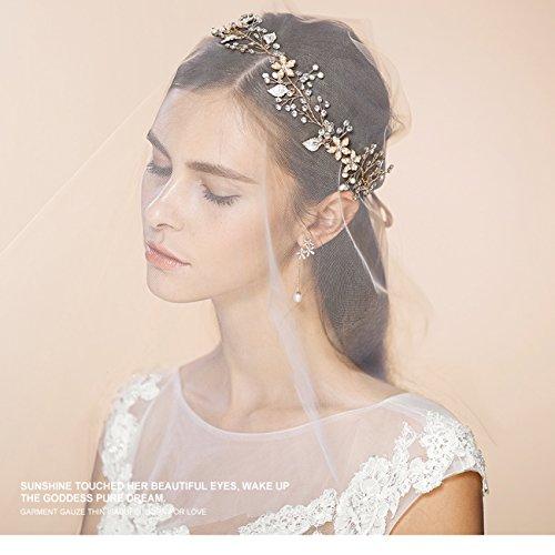 Brautschmuck Vintage Kristall Pearl Vine Haarbänder Hochzeit Haar Zubehör Gold -