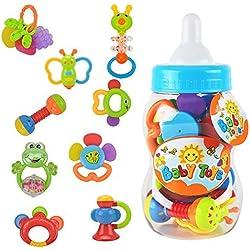 Juguete del primer sonajero y mordedor del bebé 9 piezas con el biberón gigante Juegos de regalo del banco de la moneda - Los colores pueden variar por WISHTIME