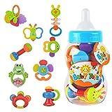 WISHTIME Baby erstes Rassel und Beißring Spielzeug 9 Stücke mit Große Baby Flasche Spardose Geschenk Set(zufällige Farben) ...