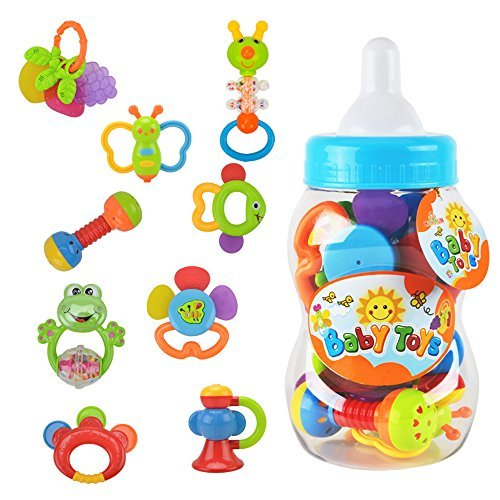 WISHTIME Rattle Teether Set Baby Toy 9pcs Rattle Teether Newborn Toys with Giant Bottle for Baby, Infant, Newborn