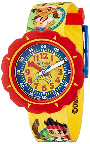 (Flik Flak Unisex Kinder Datum klassisch Quarz Uhr mit Stoff Armband FLSP006)