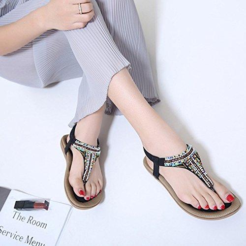 Minetom Femme Fille Été Bohémien T-Strap Plate Sandales Mode Perlées Strass Peep Toe Flip Flops Tongs Plage Chaussure Noir